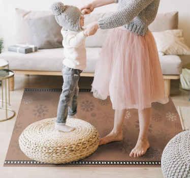 Fantástica alfombra vinílica salón de color marrón con patrón de copos de nieve para decorar tu hogar u oficina ¡Envío a domicilio!