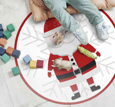 Round-tip rug design with Christmas Santa clause image print.  An ideal Christmas home decor if your are looking for a rug with a Christmas impression.