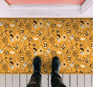 特色木乃伊,南瓜和蝙蝠黑胶地毯。恐怖的万圣节设计,适合任何空间,适用于大厅入口和起居室。