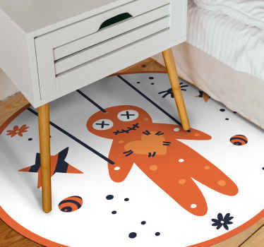 Children bedroom vinyl carpet design featured with smiling marionette, it also has stars and other features. Easy to maintain and of high quality.