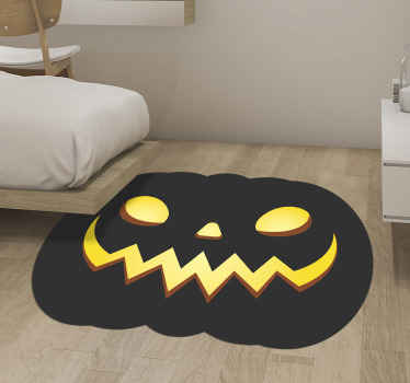 Terrifying decorative Halloween pumpkins vinyl rug. The design is a black pumpkin with yellow face detail. Made from high quality vinyl.