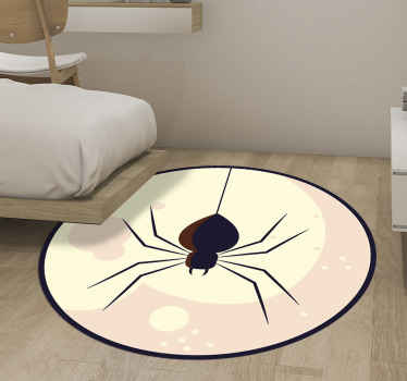 Beautiful round -tip vinyl carpet with a realistic spider on a colorful background. The product is made of high quality and easy to maintain.