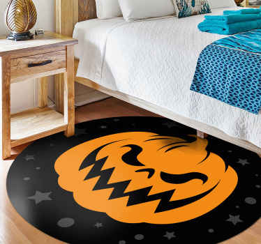 Orange pumpkins Halloween featured vinyl carpet. The design is design is suitable for a living room and it can be applied on any other space.