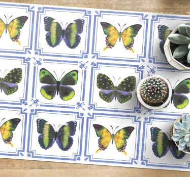 Awesome tiles themed butterfly vinyl rug that will look incredible in your home! Discounts available on our website today.