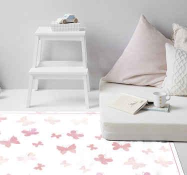 Decore la habitación de sus hijos con nuestra alfombra vinilo niños de mariposas volando de color rosa ¡Envío a domicilio!