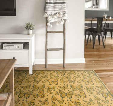 Alfombra vinílica de animales de fondo amarillo que se adapta a cualquier estancia. Original, fácil de limpiar y duradera ¡Envío a domicilio!