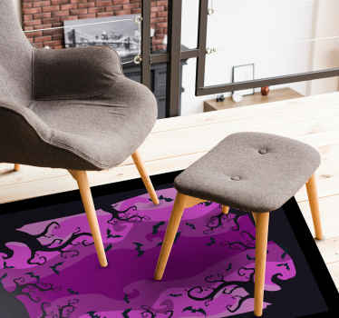 Beautiful purple vinyl carpet design with Halloween features such as twirly trees and flying bats. Easy to maintain and made of high quality.