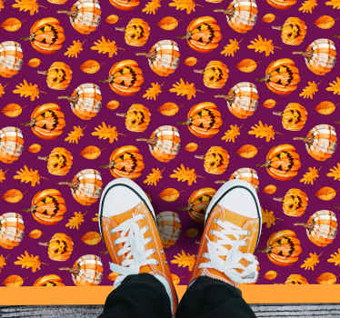 Carved pumpkins Halloween vinyl rug design to decorate a floor for Halloween festival. It is original and easy to maintain.