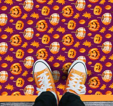 Desenho de tapete de vinil de halloween de abóboras esculpidas para decorar um chão para o festival de halloween. é original e fácil de manter.