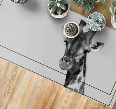 This brilliant animal rug features a wonderful picture of a giraffe in black and white. Anti-bubble vinyl. Worldwide delivery.