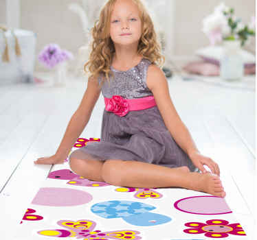 This stunning flower rug design features a variety of flowers, mushrooms and dots with adorable smiley faces! High quality materials.