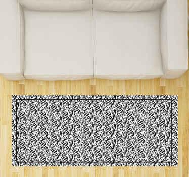 Dieses vinyl-teppich-design ist mit einem zebradruckmuster versehen. Der teppich hat einen schwarzen rand. Anti-bubble-vinyl.