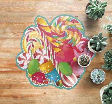 Wunderschöner Vinyl Teppich mit süßigkeiten, perfekte dekoration für kinderzimmer oder süßigkeitenliebhaber. Aus hochwertigem vinyl, leicht zu reinigen.