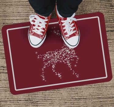 Dit fantastische feestelijke kerst vinyl tapijt is voorzien van een rendier gemaakt van witte glinsterende sterren op een rode achtergrond. +10. 000 tevreden klanten.