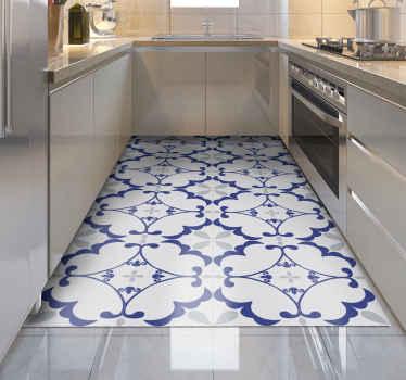 Ein eleganter und wunderschöner Vinyl Teppich im mosaik-design in blaugrau und weiß, der Ihren küchenboden dekoriert und ihren boden schützt.