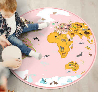 A wonderful pink world map and animals vinyl rug for kids to learn the names of countries and animals by decorating their bedroom.