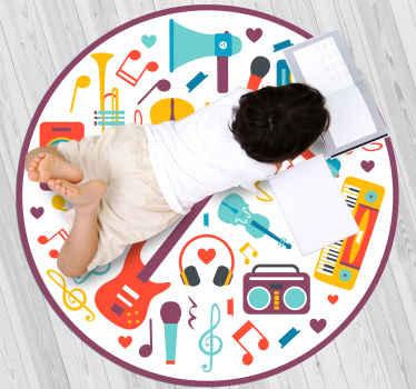 ces stickers murauxde pour adolescents comprend une gamme d'instruments de musique, notamment une guitare, une trompette, un clavier, une perche et un microphone.