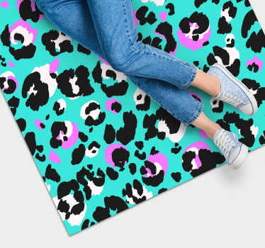 Neon colored leopard print vinyl rug for all those print animal lovers to decorate your house and leave every visitor surprised.