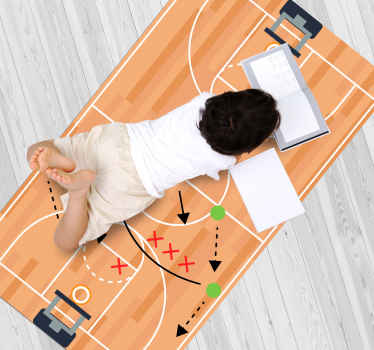 A basketball field with game strategies vinyl rug for decorate your kid's bedroom. Follow the steps and complete your order.
