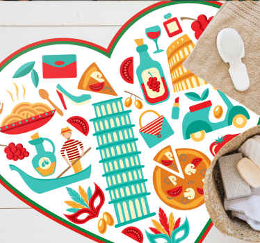 Decorative conic food floor vinyl rug for food lovers. A heart shape dinning room vinyl carpet hosting various iconic food features.