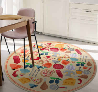 Amazing iconic food vinyl rug for food lovers. A  round-tip dinning room vinyl carpet hosting various iconic food features in a realistic appearance.
