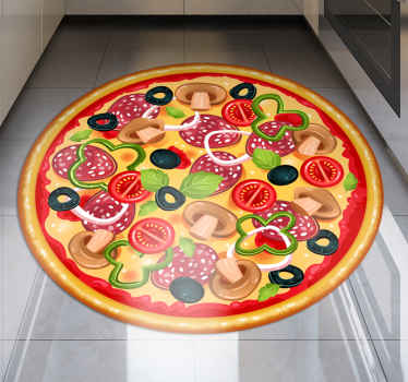 Oh! what an amazing iconic food vinyl carpet for pizza lovers. A design to display your love for pizza, it is  designed  in a realistic appearance.