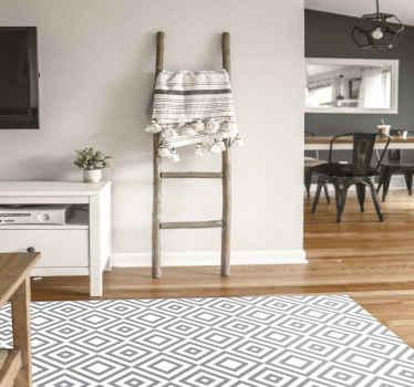 Vinyl Teppich mit grauen quadraten, perfekte dekoration für Ihren salon. Hergestellt aus hochwertigem vinyl und leicht zu lagern und zu reinigen. überprüfe es selbst!