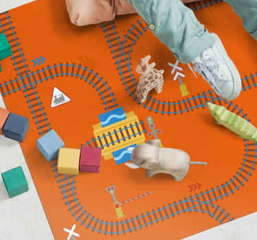 This interactive children's rug features train tracks with a station in the centre of it. Sign up for 10% off. High quality.