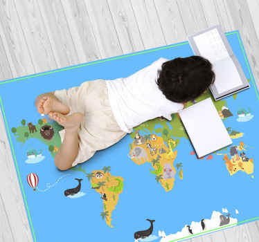 This brilliant world map rug design features a map of the world with wonderful cartoon animals on each country. Easy to apply.