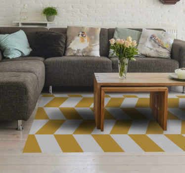 Geometrik beyaz ve sarı figürler vinil kilimler. Beyaz ve turuncu renklerde geometrik şekillerle düzensiz desen. Sizin için özel boyut!