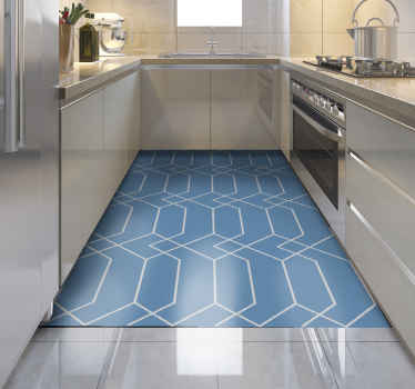 A geometric vinyl rug will be the perfect addition to your kitchen! They are anti-slip, made to order and easy to maintain!