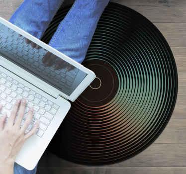 Een kleurrijk LP record rond vinyl tapijt voor alle muziekliefhebbers om elke ruimte in u huis te decoreren met dit hoogwaardige product.