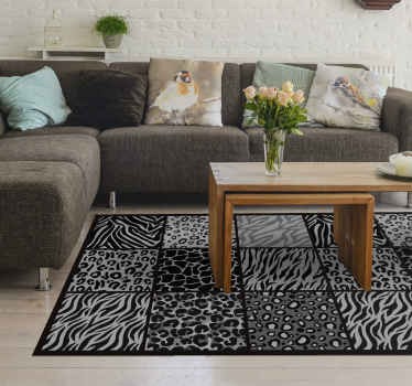 A different black and white animal print vinyl rug to decorate your house. It has the designs of a zebra, leopard and other more.