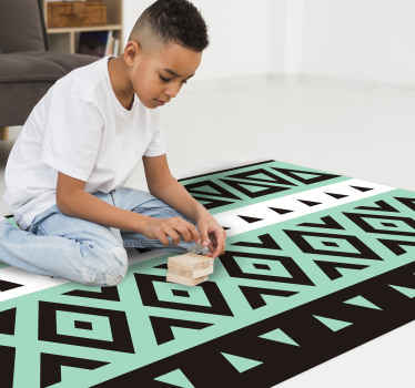 Tribal Black Pattern ethnic vinyl rug. Design with aquamarine, black and white uneven stripes. Each stripe has a pattern. Sign up for 10% off!