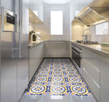 Summer Tiles tile carpet. Orange and dark blue summer style design of tiles for any kitchen. Beautify the space. Get it with immediate shipping!