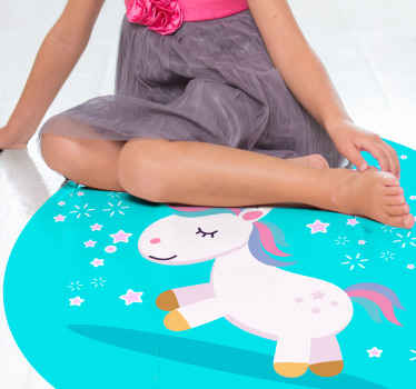 The perfect cartoon unicorn kids vinyl rug to add to your home. Sign up on our website today for 10% off your first order.