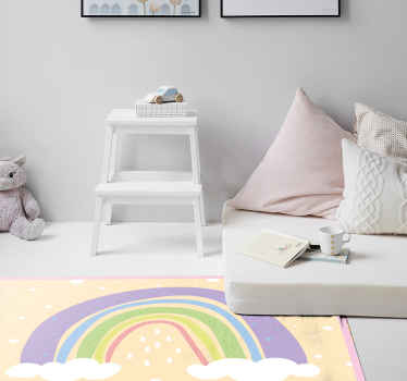 A new modern rainbow vinyl rug to make your children's rooms look incredible! Our anti-bubble vinyl will make any floor look amazing.