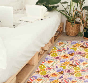 Multi-colored travel sticker carpet that can be placed on any desired surface and will be fit perfectly in every home - buy it.