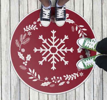 Alfombra vinilo redonda navideña con un patrón de plantas de navidad y un copo de nieve con fondo rojo. Elige medidas ¡Envío exprés!