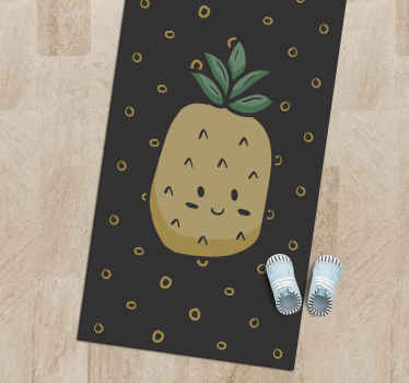 An amazing pineapple vinyl rug that will look amazing in any room! Sign up on our website today for 10% off your first order.