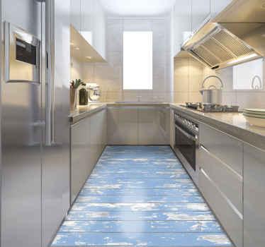 Blå trä vinylmatta, perfekt om du vill dekorera ditt kök med en elegant touch. Tillverkad av kvalitetsvinyl, lätt att rengöra och förvara.