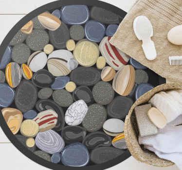 Ronde stenen vinyl vloerkleed, perfecte decoratie voor uw eetkamer. Het is gemaakt van hoogwaardig vinyl, gemakkelijk op te bergen en schoon te maken. Bekijken!