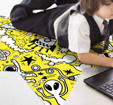 Yellow doodles vinyk rug, perfect for decoarting your kids room. It is made of high quality vinyl which is durable and resistant to external factors.