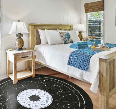 An original zodiac signs and its constellations round vinyl rug on black background to give your house an original and perfect touch.
