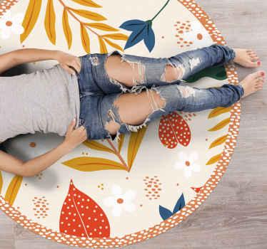 Maravilhoso tapete redondo de vinil floral, com o qual você terá uma decoração que todos invejarão. Adicione-o ao seu carrinho agora para comprá-lo online!