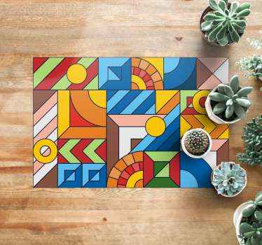 Bring in your house this original squared colorful mosaic vinyl rug. You can be sure that our vinyl is really strong! Add it to cart now!