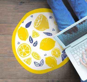Covor vinil potrivit pentru podea pentru bucătărie. Designul covor rotund din vinil conține felii de lămâie, portocală și frunze. Original și ușor de întreținut.