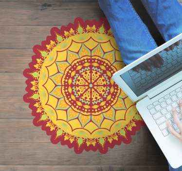 Round mandala patterned vinyl floor carpet to improve your home in an amazing colorful and stylish way. It is original, durable and easy to clean.