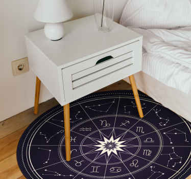 The most amazing horoscope vinyl rug showing all the star signs that will look incredible in your home. Personalised stickers.