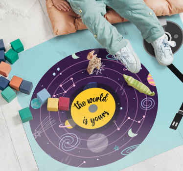 The world is your bespoke rugs. Design with text, a purple outer space circle and blue background. It has a solar system with decorations!